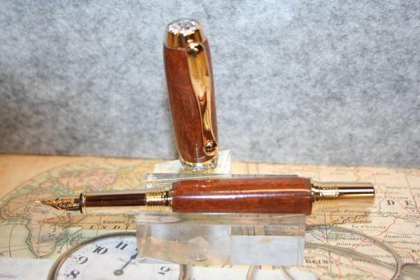 Fountain Pen - Ironwood Burl - Triton Fountain Pen - Desk Pen - Writing - Executive Pen - Handmade Wood Pen - 24 ct Gold with Chrome Accent