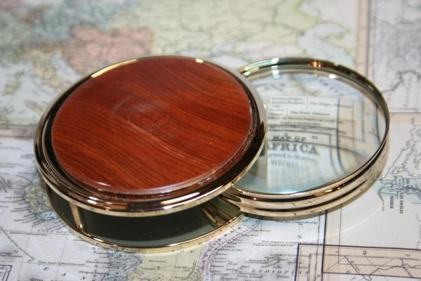 Magnifying Glass - Paperweight - Handcrafted Lg Magnifying Glass Paperweight - North African Thuya Burl - Desk Magnifier - 24 ct Gold Finish
