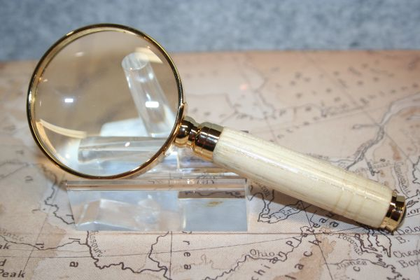 Magnifying Glass - 2 inch Petite Magnifying Glass - Handcrafted - North American Hickory - Magnifier - Reading - Maps - Desk Glass - Gold