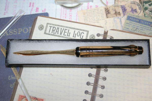 Letter Opener - Cigar Styled Letter Opener - Black & White Ebony - Wooden Letter Opener - Handcrafted Letter Opener - Desk - Gold