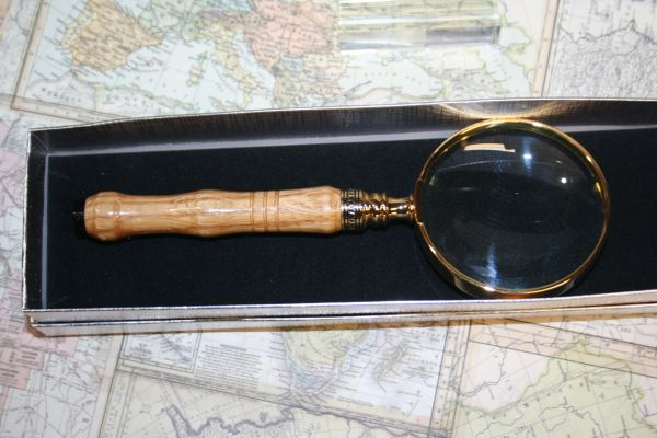 Magnifying Glass - Americana 2 1/2 inch Magnifying Glass - Jack Daniels Whiskey Barrel Oak - Jack Daniels - Handcrafted in Bright Gold