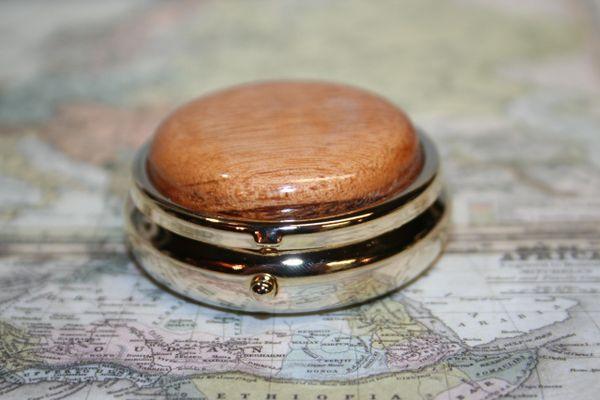 Mini Pill Box - Central American Tigerwood Cap - Pill Box - Small Box - Medicine - Handcrafted Wooden Mini Pill Box - Pewter Plated