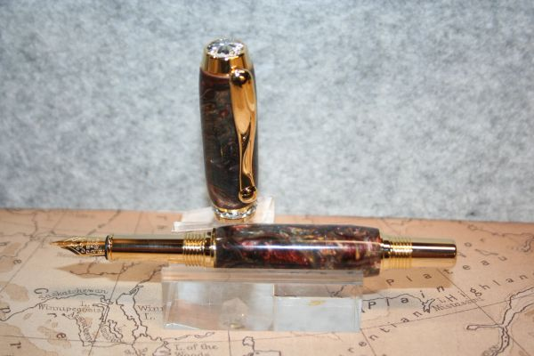 Fountain Pen - Triton Fountain Pen - Gold & Bronze and Butterscotch Alumilite - Desk Pen - Handcrafted Pen - 24 ct Gold with Chrome Accents