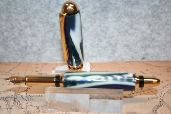 Alligator Jaw Bone Pen - Fountain Pen - Alligator Jaw Bone Fused Within a Blue Green Alumilite Resin - Sedona Roller Ball - Titanium Gold