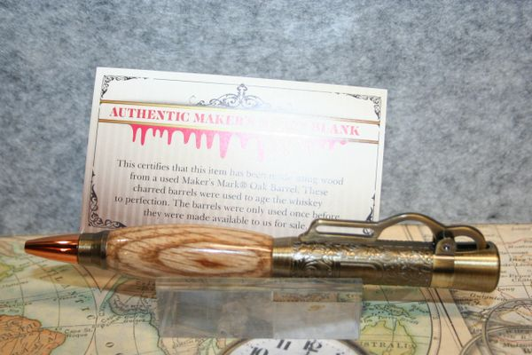 Lever Action Pen - Makers Mark Bourbon Whiskey Barrel Stave Oak Pen - Ballpoint Pen - Wood Pen - Handcrafted Pen - Rifle - Antique Brass