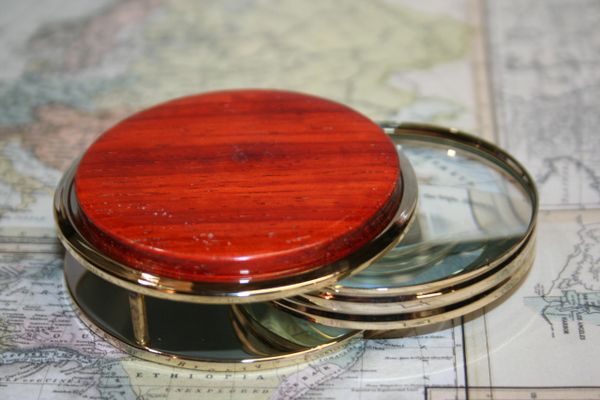 Magnifying Glass - Paperweight - African Padauk - Large Magnifying Glass Paperweight - Desk Magnifier - Reading - Maps - 24 ct Gold Finish