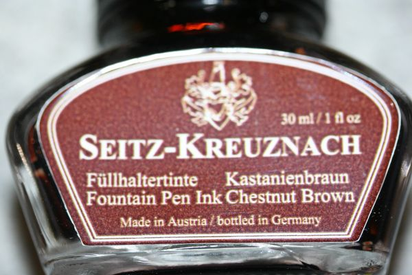 Fountain Pen Ink - Chestnut Brown Fountain Pen Ink - Seitz-Kreuznach Ink - Brown Pen Ink - Chestnut Brown - Ink Bottle