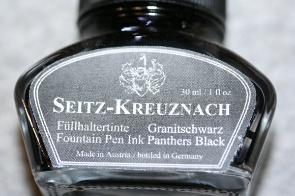 Fountain Pen Ink - Panthers Black Fountain Pen Ink - Seitz-Kreuznach Ink - Black Pen Ink - Panthers Black - Ink Bottle