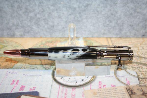 Bolt Action Pen - Alligator Jaw Bone - Midnight Black Alumilite - Handcrafted Alligator Pen - Ballpoint Pen - Writing - Gator Pen - Gunmetal