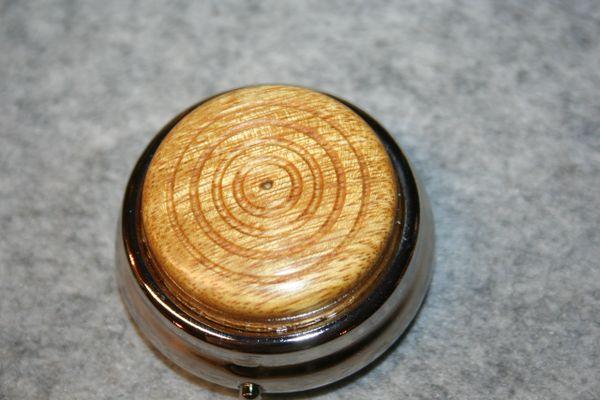 Mini Pill Box - Small Box - West African Movingui - Handcrafted Wooden Box - Pill Box - Secret Box - Mini Box - Medicine Box - Pewter Plate