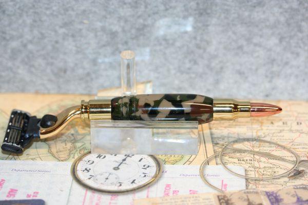 Razor - Mach 3 Bullet Razor - Woodland Forest Acrylic - for Gillette Mach 3/Venus - Shaving - Grooming - Bath - Forest Theme - Bright Gold