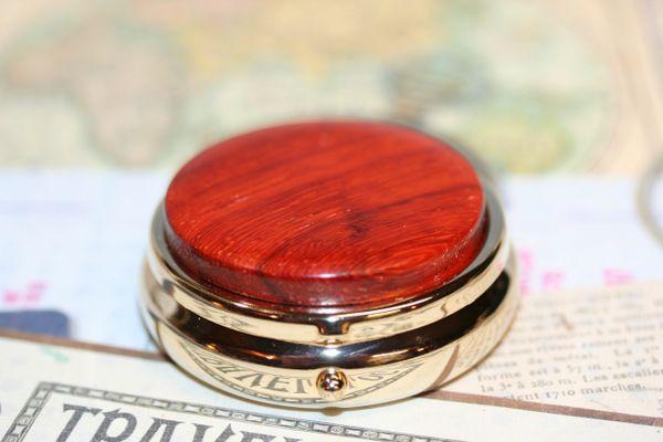 Mini Pill Box - Pill Box - African Padauk - Secret Box - Small Box - Pocket Box - Mini Box - Organizer - Medicine Box - 24ct Gold Plate