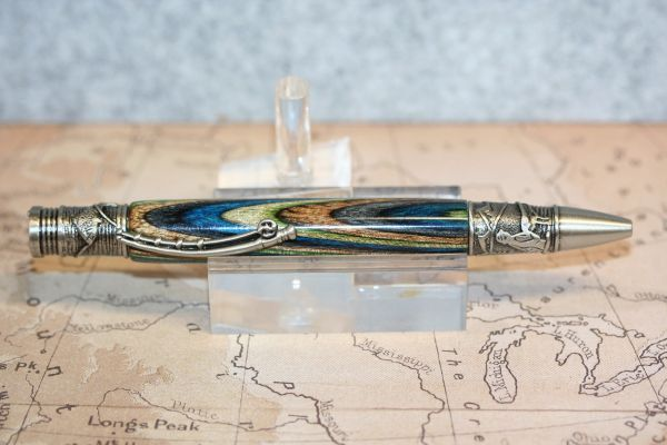 Fly Fisherman Pen - Field & Stream Dyed Hardwood Laminate - Fishing Pen - Ballpoint Pen - Twist Pen - Handcrafted Pen - Antique Pewter
