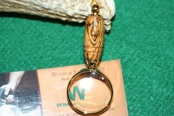 Magnifying Glass Pendant - South American Bocote - Pendant - Mini Magnifying Pendant - Necklace - Magnifier - Jewelry - 24ct Gold Plate
