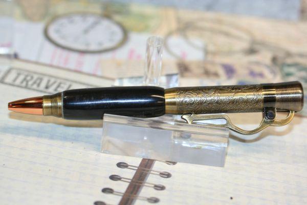 Lever Action Pen - Buffalo Horn Pen - Buffalo Horn - Lever Action - Ballpoint - Horn Pen - Rifle Pen - Bullet Pen - Antique Brass - Desk