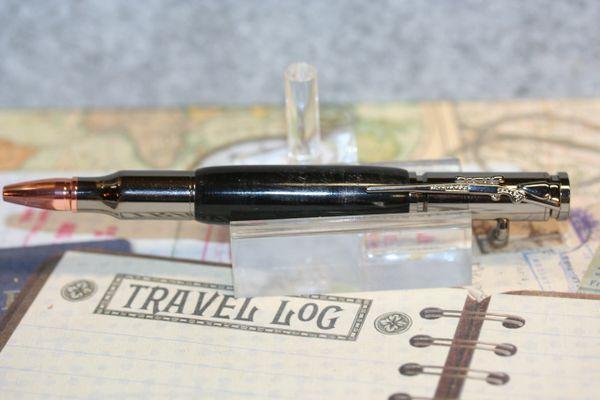 Bolt Action Pen - Buffalo Horn Pen - Buffalo - Rifle Pen - Sportsman Pen - Buffalo Horn - Bullet Pen - Outdoorsman Pen - Gunmetal Finish