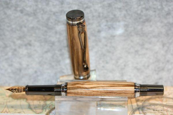 Atracia Fountain Pen - Pistachio - Pen - Nut Tree Pen - Wood Pen - Writing - Desk Pen - Bespoke - Ink Pen - Gunmetal & Chrome - Handcrafted