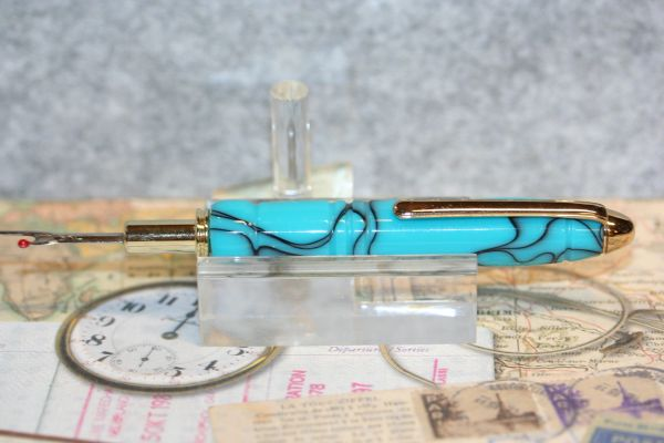 Seam Ripper - Reversible Blade - Turquoise Acrylic - Handcrafted Seam Ripper - 24ct Gold Plate - Sewing Tool - Tailoring - Seamstress