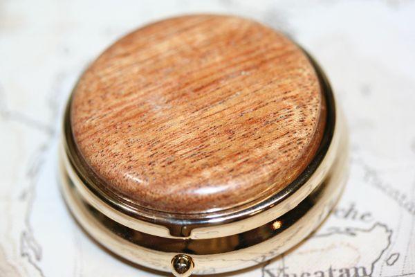Pill Box - Mini Pill Box - Handcrafted Wood Box - Exotic Canarywood Cap - Medicine - Secret Box - Medicine Box - Small Box - 24ct Gold Plate