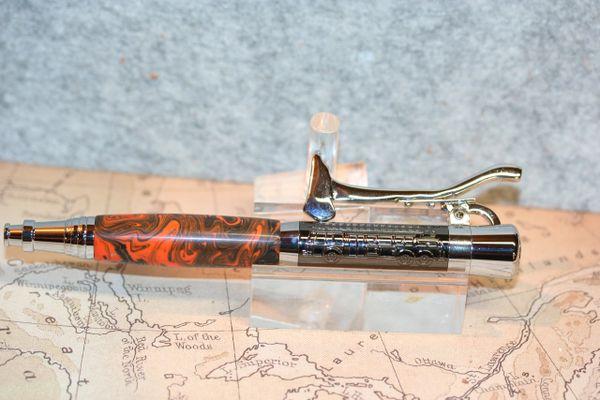 Fireman's Pen - Raging Inferno Alumilite - Fire Fighter Pen - First Responder - Gunmetal and Chrome - Handmade Pen - Ballpoint - Axe Clicker