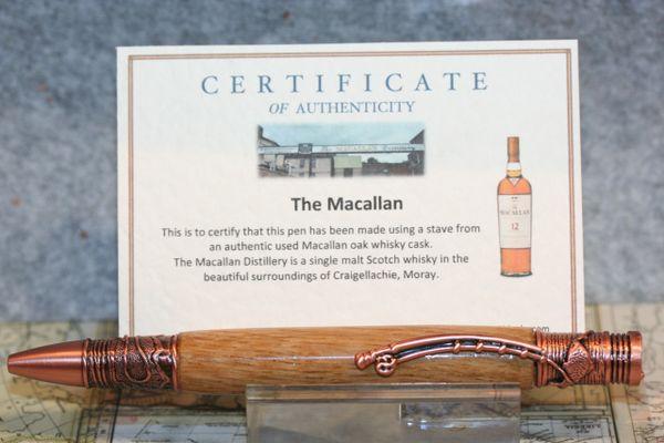 Fly Fisherman - Macallan Scotch Whiskey Oak Barrel Stave - Fishing Pen - Ballpoint Pen - Wooden Pen - Twist Pen - Antique Copper Finish
