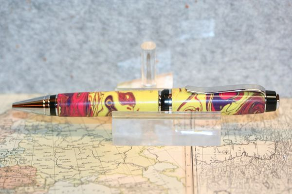 Cigar Pen - Alumilite Pen - Painted Desert Alumilite - Pen - Twist Pen - Ballpoint - Journal Writing - Gift - Desk - Handmade - Ink - Chrome