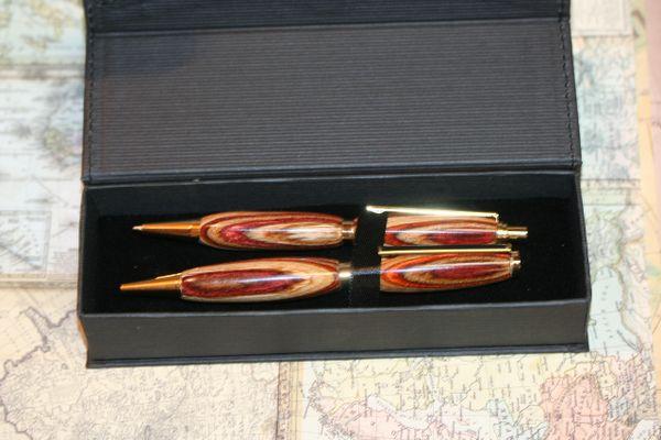 Pen and Pencil Set - Hazel Nut Laminated Hardwoods - Wood Pen - Wood Pencil - Slim Desk Set - Gift - Twist Pen - Click Pencil - Gold Finish