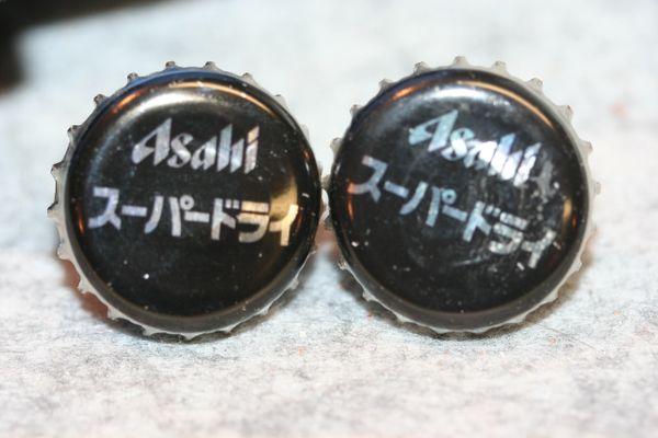 Cuff Links - Asahi Beer - Bottle Cap Cufflinks - Beer Cap Cufflinks - Groomsman Gift - Jewelry