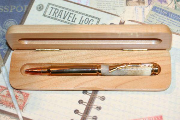 Antler Pen - Cartridge Pen - Whitetail Deer Antler Pen - Handcrafted Pen - Bullet Pen - Deer Pen - Personalized Pen - 24ct Gold Plate