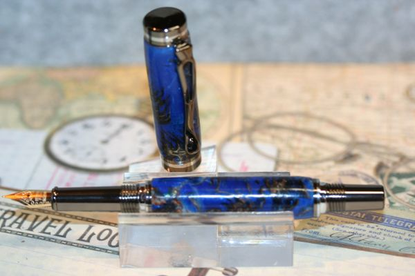 Fountain Pen - Atracia Fountain Pen - Pine Cones in Ocean Blue Alumilite - Pen - Writing - Desk - Bespoke - Ink Pen - Gunmetal & Chrome
