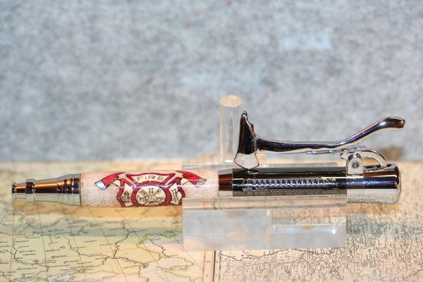 Fireman's Pen - Inlay Pen - Fire & Rescue Inlay Pen - Firefighter - First Responder - Ballpoint Pen - Desk Pen - Ink - Gunmetal and Chrome