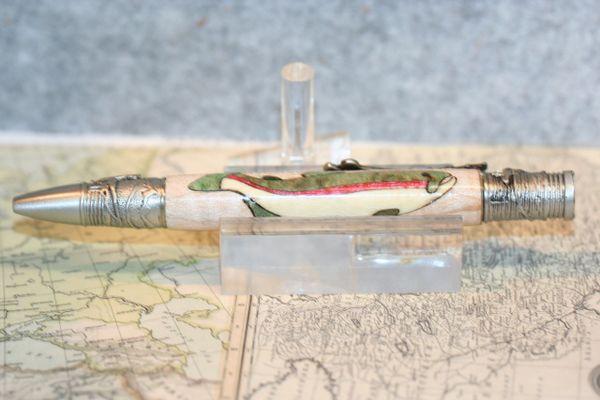 Fly Fisherman Pen - Rainbow Trout Inlay - Fly Fishing Pen - Wooden Pen - Fishing Pen - Ballpoint Pen - Sportsman Pen - Antique Pewter