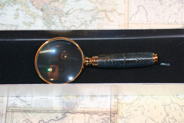 Magnifying Glass - 2 inch Petite Magnifying Glass - Blue Dyed Spalted Hackberry - Handmade - Magnifier - Decor - Desk Magnifier - Gold Plate