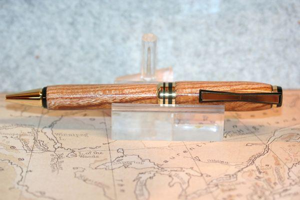 Cigar Pen - Japanese Zelkova Serrata - Bowtie Clip - Twist Pen - Handmade - Gift - Ballpoint - Writing - Desk Pen - 24ct Gold/Black Chrome