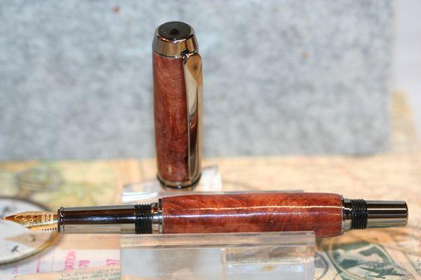 Fountain Pen - Redwood Lace Burl - Baron Fountain Pen - Wood Pen - Handmade - Handcrafted Pen - Desk Pen - Journaling - Black Titanium