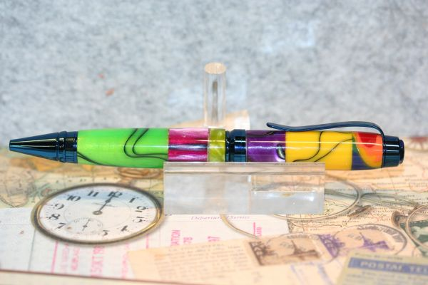 Acrylic Pen - Premium Cigar Pen - Acrylic Mix Pen - Acrylic Mix - Twist Pen - Desk - Writing Instrument - Ballpoint Pen - Blue Titanium