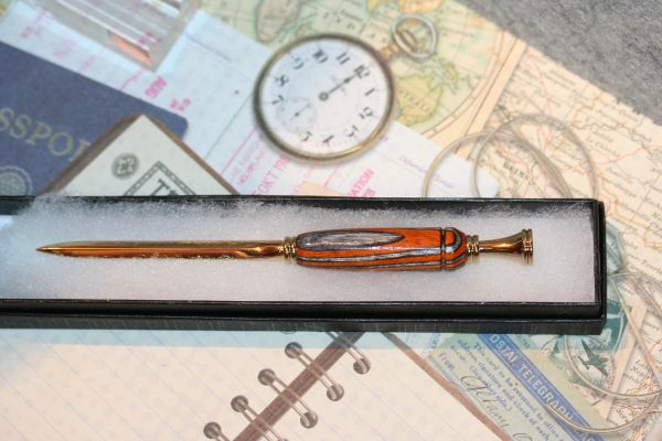Letter Opener - Wildfire Hardwood Laminate - Petite Letter Opener - Handmade - Wood - Desk - Slim Letter Opener - Bright Gold Finish