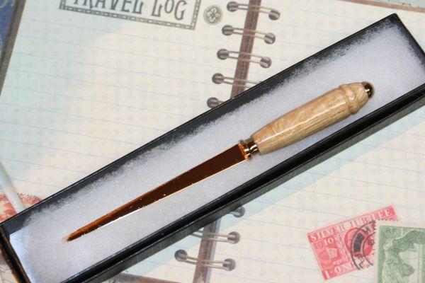 Letter Opener - Recycled Japanese Kana - Slim Letter Opener - Desk - Mail Opener - Letters - Wooden Letter Opener - Gold Trim