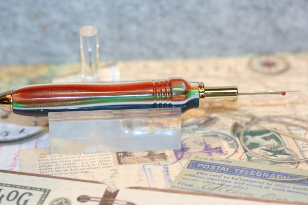Seam Ripper - Reversible Blade - Carnival Acrylic - Handcrafted Seam Ripper - 24ct Gold Plate - Sewing Tool - Tailoring - Seamstress - Quilting