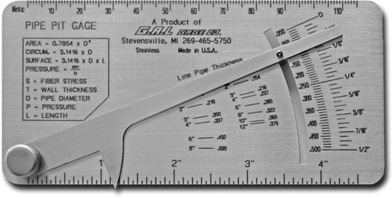 Pipe Pit Gauge, Inch or Metric, GG-17