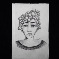 "Bubble woman 9x6"" graphite drawing"