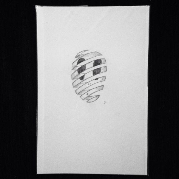"Escher alien 9x6"" graphite drawing"