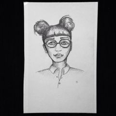 "Glasses girl 9x6"" graphite drawing"