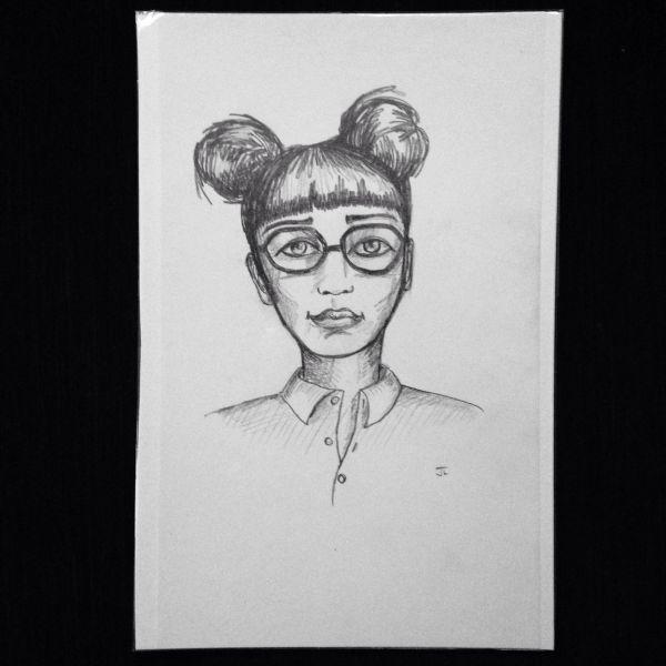 "Glasses girl 9x6"" graphite drawing"