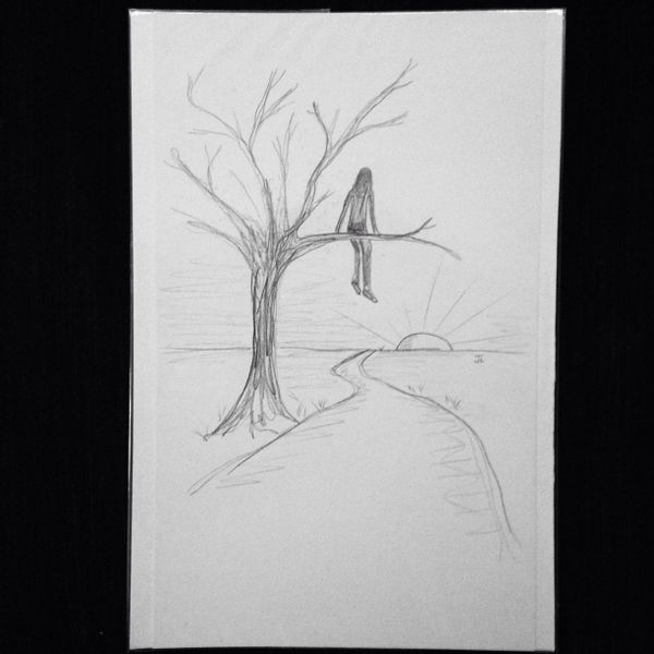 "In my tree 9x6"" graphite drawing"