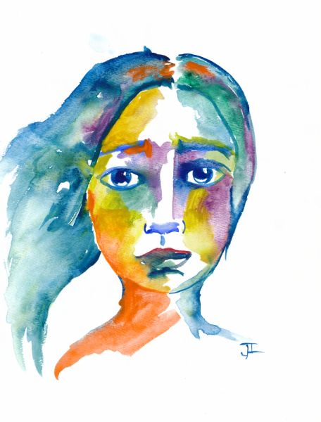 "SOLD Watercolor 9x12"" Girl Original Painting"