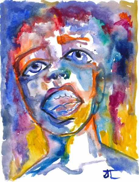 "Colorful Emotional face 9x12"" Original Watercolor"