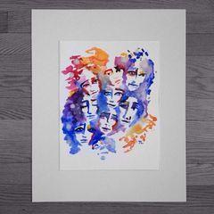 "Faces 11x15"" paper original watercolor"