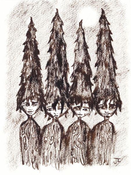 "Sepia Tree People 9x12"" Original Sepia Ink"