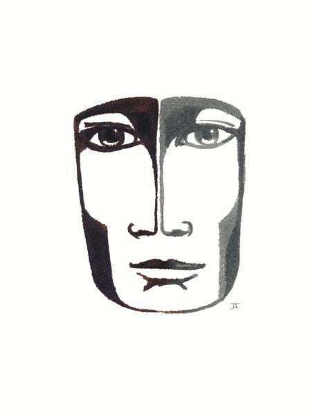 "Two Tone Face Original 9x12"" Paper"